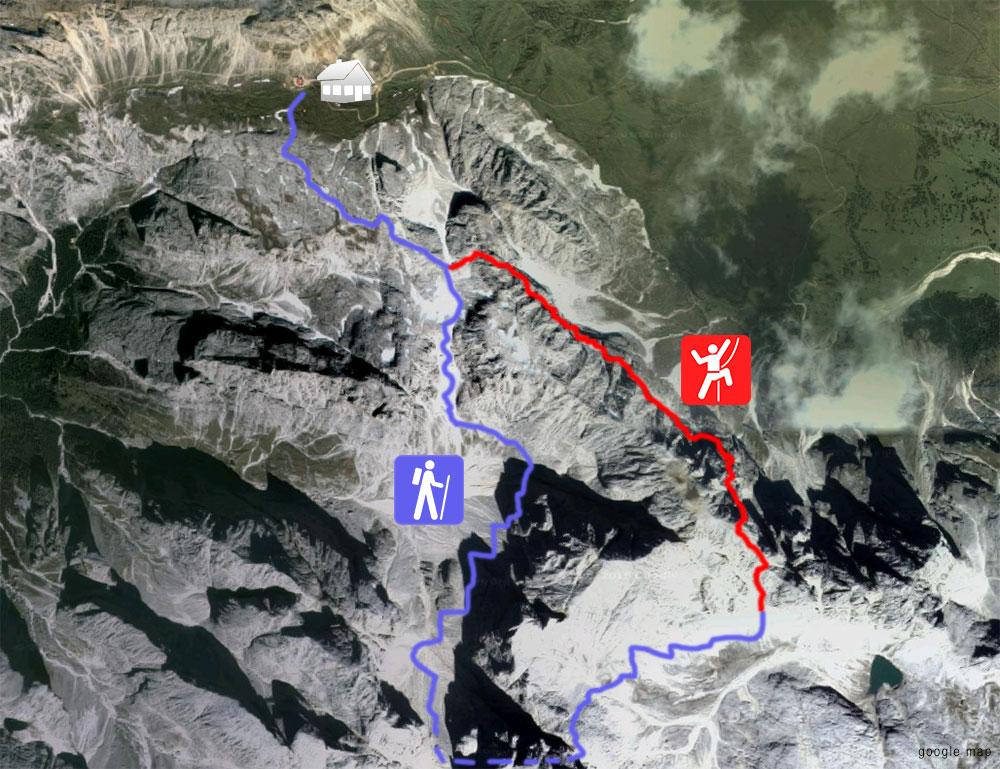 Klettersteig Map : Laurenzi klettersteig vom tierser alpl über den molignon zum